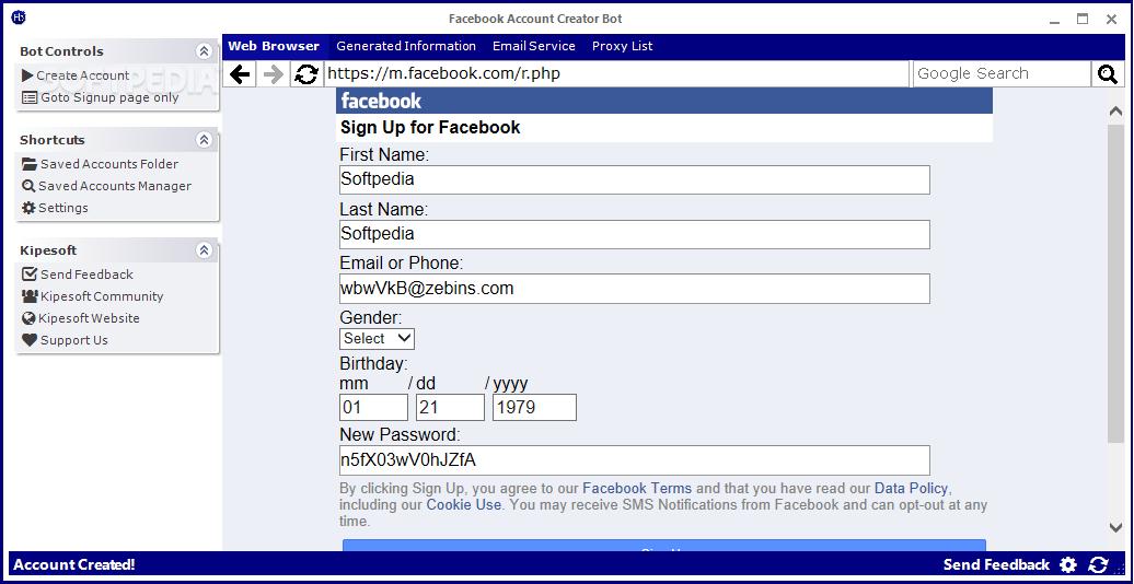 Facebook Account Creator Bot