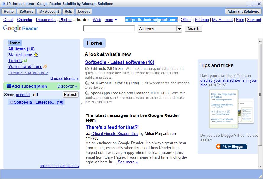 Google Reader Satellite