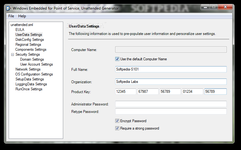 Windows Embedded for Point of Service Unattended Generator